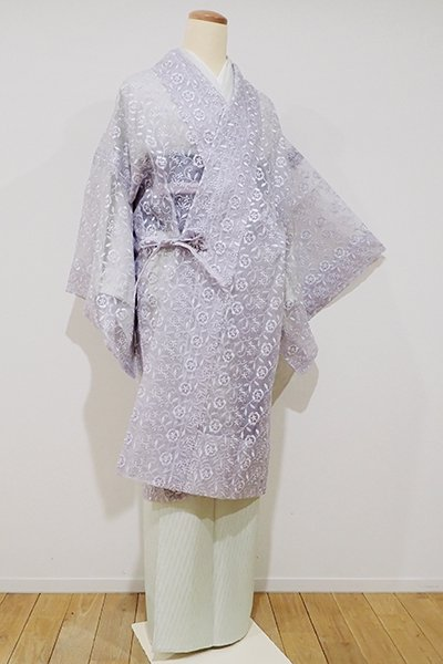 銀座【E-841】薄物 刺繍 道中着 暁鼠色 花唐草文(新品)
