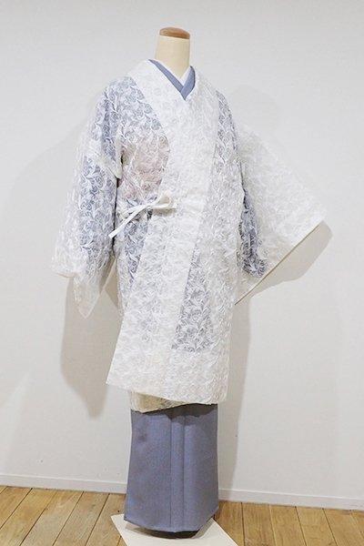 世田谷【E-842】薄物 刺繍 道中着 白色 植物文(新品)