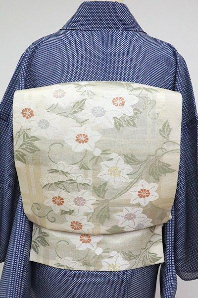 あおき【L-3539】紗 袋帯 鳥の子色 垣根に鉄線の図