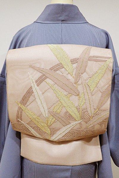銀座【L-3540】紗 袋帯 洒落柿色 蛇籠に葦の図