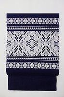 あおき【帯2200-3】津軽こぎん刺し 名古屋帯 藍色×白糸 (N)