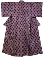 銀座【着物2156】浦野理一作 経節紬 滅紫色 幾何絣 (しつけ付)