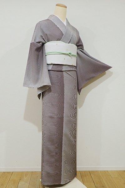 銀座【C-1320】単衣 江戸小紋 煤竹色 流線(しつけ付・新品)
