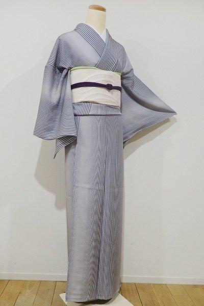 銀座【C-1323】単衣 江戸小紋 深い灰青色 滝縞(しつけ付)
