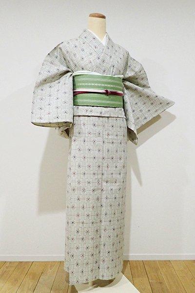 銀座【A-2350】単衣 真綿紬 灰黄緑色 幾何文
