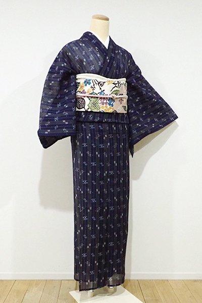 あおき【A-2355】トールサイズ 夏琉球絣 濃藍色 縞に絣文