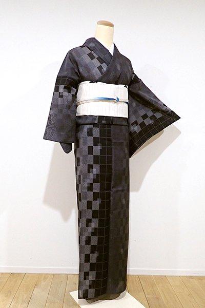 あおき【A-2356】(広め)紗紬 黒色 幾何文