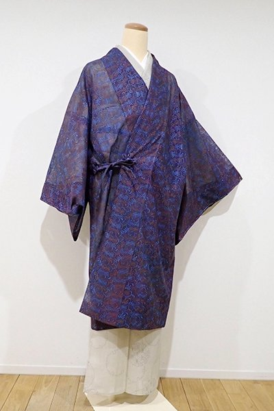 銀座【E-868】紗 刺繍 道中着 濃色 花唐草の図(しつけ付・新品)