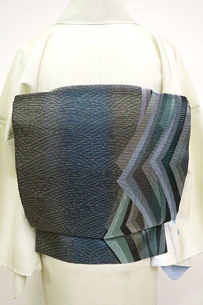 あおき【L-3566】絽 袋帯 黒色 竪暈かしに抽象文