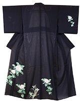 【着物2173】絽付下げ 黒色 紫陽花の図 (しつけ付)
