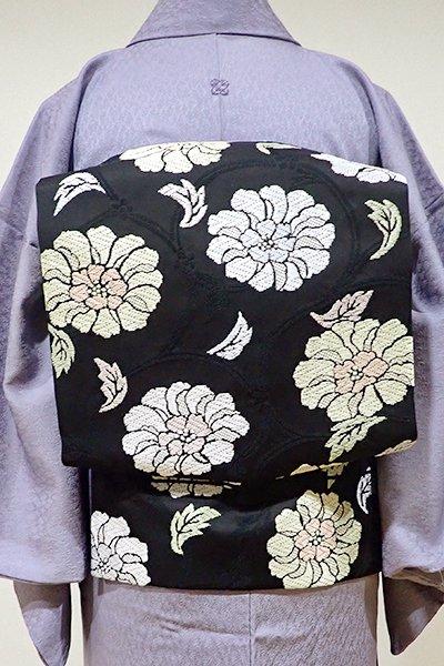 WEB限定【K-4953】西陣製 織名古屋帯 黒色 牡丹唐草文(証紙付・新品)