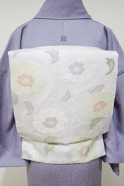 WEB限定【K-4956】西陣製 織名古屋帯 乳白色 牡丹唐草文(証紙付)(N)