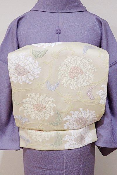 世田谷【K-4958】西陣製 織名古屋帯 練色 牡丹唐草文(証紙付・新品)