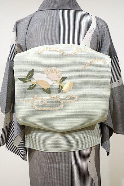 WEB限定【K-4988】絽綴れ 八寸名古屋帯 白緑色 花の図