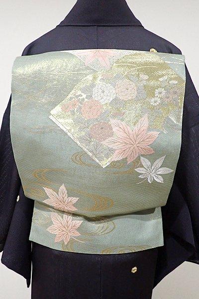 WEB限定【L-3568】絽 袋帯 山葵色 冊子に秋草の図