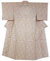 【着物2180】上布 生成色 明るい彩りの紗綾型文