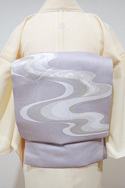 WEB限定【K-4995】絽 織名古屋帯 薄梅鼠色 流水の図