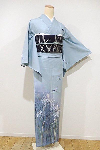 WEB限定【B-1804】↑Sサイズ↓絽 付下げ 白藍色 菖蒲に蜻蛉の図