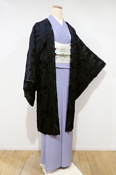 世田谷【E-872】薄物 羽織 黒色 プードルの図(しつけ付)