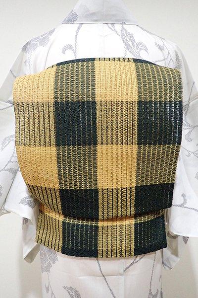 WEB限定【K-4997】粗紗 八寸名古屋帯 櫨染色×虫襖色 格子