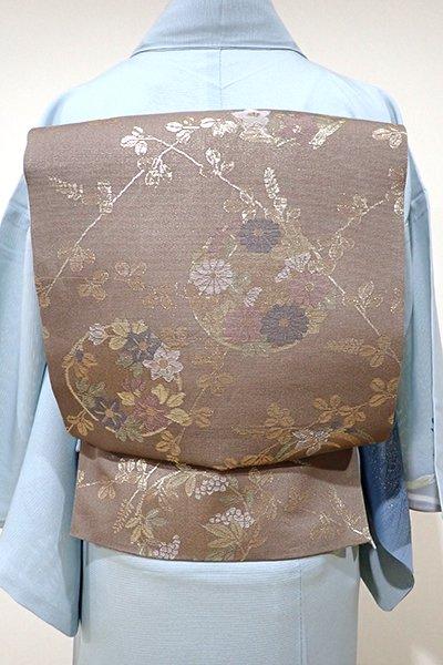 あおき【L-3580】紗 袋帯 胡桃染色 萩に花の丸文