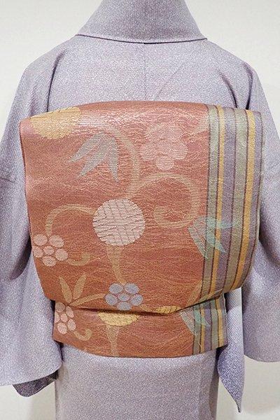 あおき【L-3587】紗 袋帯 淡い紅鳶色 笹蔓に縞