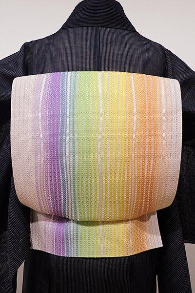 あおき【K-5008】本場筑前博多織 紗 八寸名古屋帯 薄卵色 多彩な縞(未使用・証紙付)