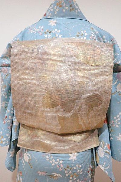 あおき【L-3589】紗 袋帯 白橡色 桔梗の図