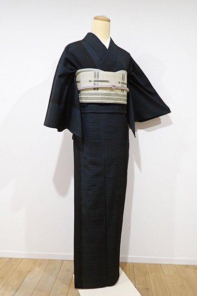 銀座【A-2369】単衣 本塩沢 濃藍色 竪暈かし