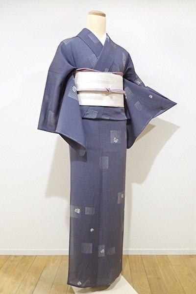 WEB限定【D-1892】↑Sサイズ↓絽縮緬 小紋 青褐色 源氏香の図