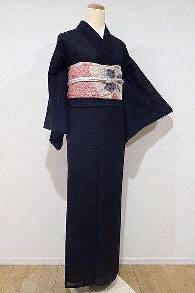 あおき【A-2376】紗紬 黒色 絣の横段