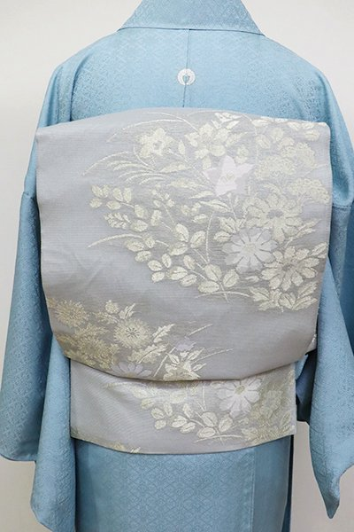 銀座【L-3610】紗 袋帯 薄雲鼠色 菊や桔梗の図