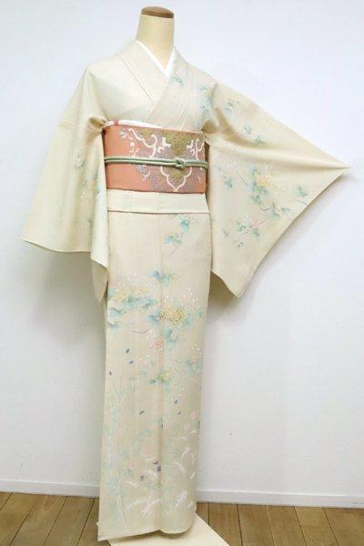 銀座【B-1817】(L) 絽 染一ッ紋付 訪問着 砥粉色  空木や秋の草花の図