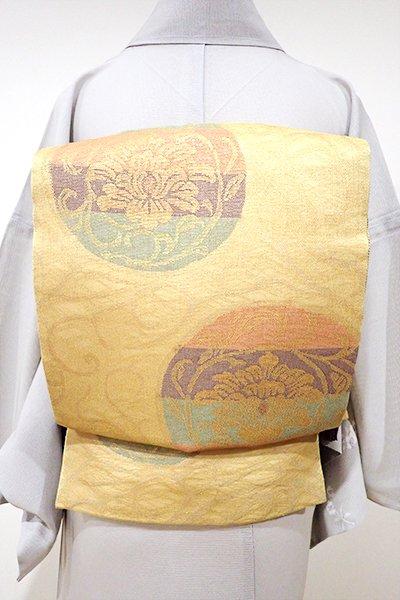 あおき【L-3615】紗 袋帯 玉蜀黍色 牡丹唐草の円文