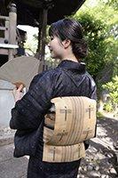 【帯2607】国指定重要無形文化財 喜如嘉の芭蕉布 名古屋帯 (証紙付)