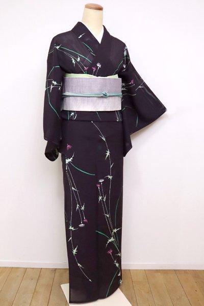WEB限定【D-1901】→ホッソリ←絽 小紋 似せ紫色 薊の図