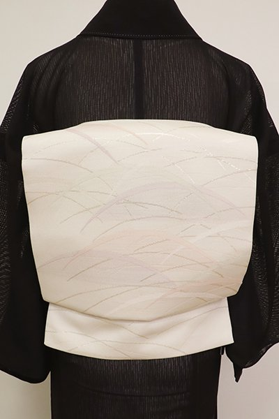 あおき【L-3629】西陣製 紗 袋帯 白練色 露芝文(証紙付・未使用)