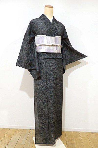 銀座【C-1353】(広め)きもの英製 絽 江戸小紋 黒色 波頭文