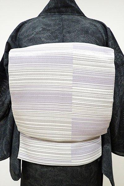あおき【K-5067】本場筑前博多織 絽 八寸名古屋帯 銀色×白藤色 変わり段(証紙付)