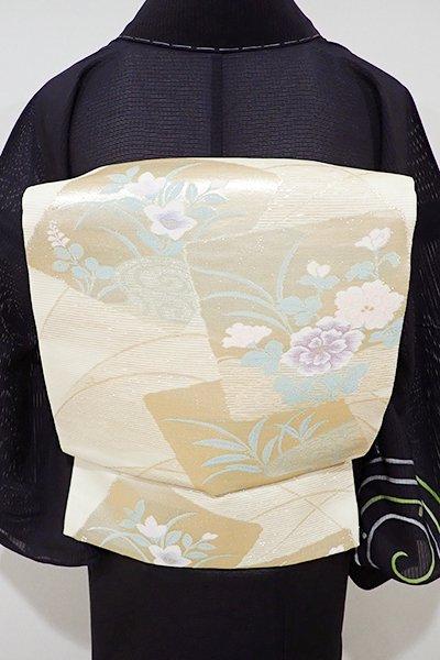WEB限定【L-3635】絽 袋帯 蜂蜜色 色紙に牡丹や桔梗の図