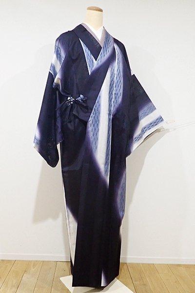 銀座【E-875】トールサイズ 青柳製 ぜんまい紬地 薄物 道中着 紫黒色 流線の図(反端付き)