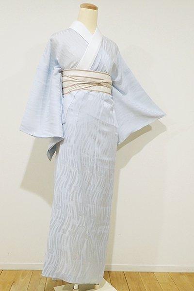 銀座【F-306】紋紗 長襦袢 月白色 流線に桜の図