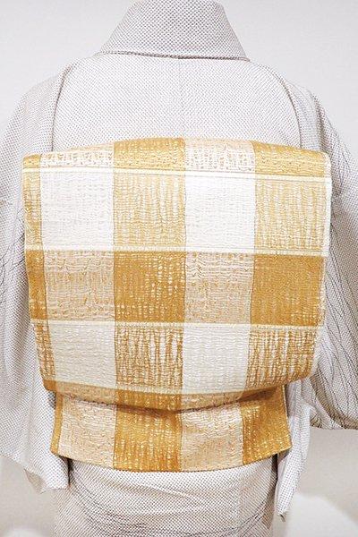 あおき【L-3639】西陣製 櫛織 洒落袋帯 白色×紅鬱金色 竪縞(証紙付)