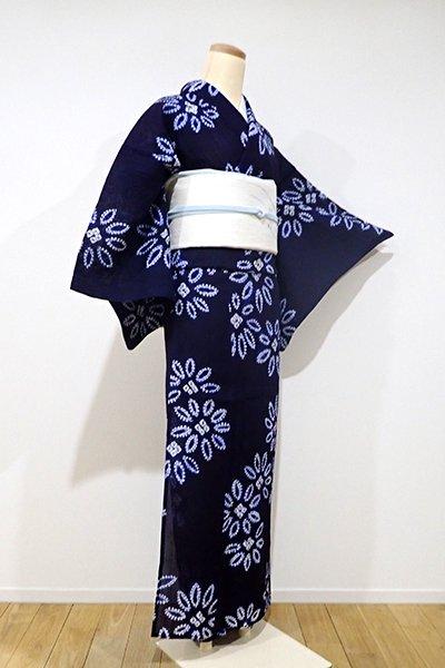 あおき【D-1907】トールサイズ←ユッタリ→ 小千谷縮 絞り染め 小紋 濃藍色 おおらかな花の図