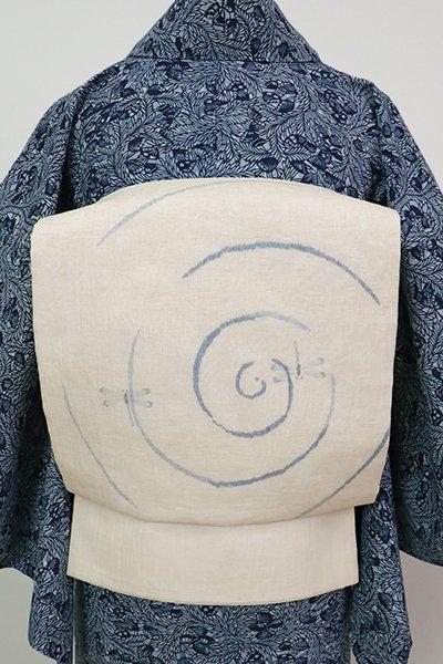 あおき【L-3644】小千谷縮地 織 洒落袋帯 象牙色 渦巻きに蜻蛉の図