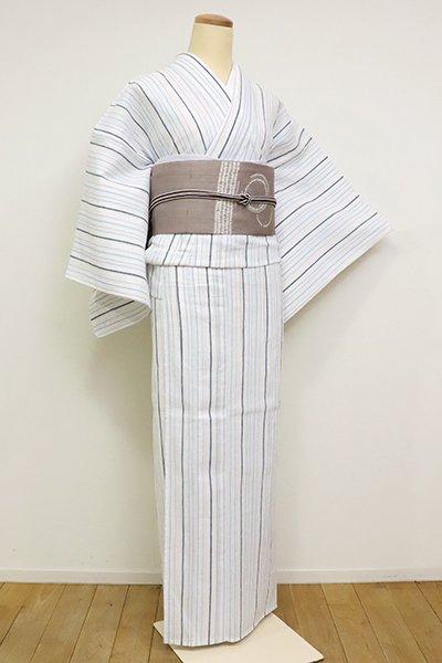 あおき【A-2395】綿麻縮 白色×藍鉄色 竪縞(しつけ付)