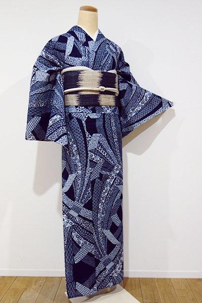 あおき【D-1916】←ユッタリ→綿絽 浴衣 濃藍色 束ね熨斗