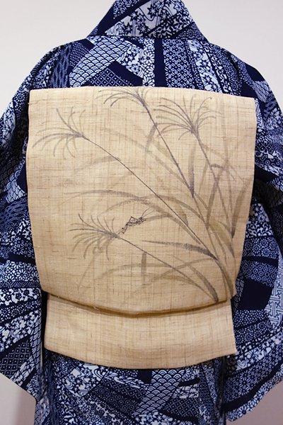 あおき【K-5107】麻地 染名古屋帯 枯れ色 芒に虫の図
