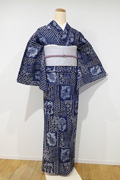 あおき【D-1918】綿絽 浴衣 濃藍色 七宝に人物文