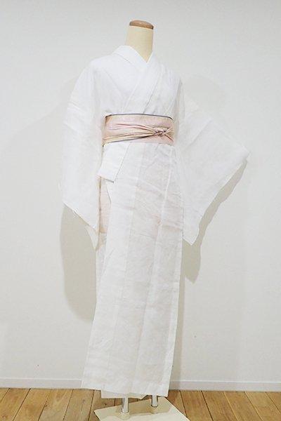 銀座【F-307】麻地 紋紗 長襦袢 白練色 露芝文(大丸扱い)